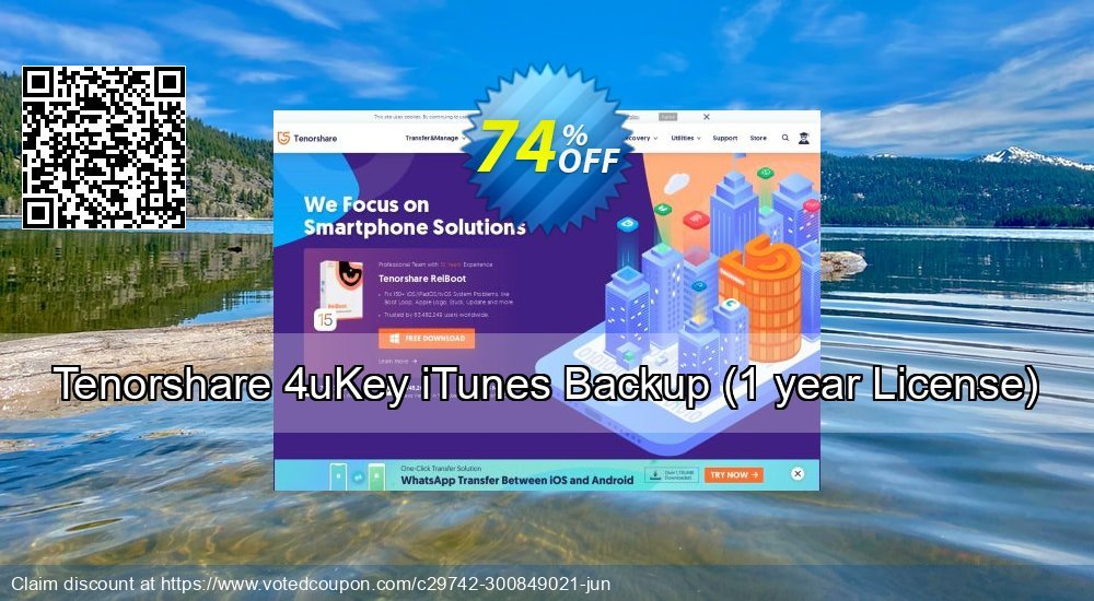 Get 74% OFF Tenorshare 4uKey iTunes Backup, 1 year License Coupon