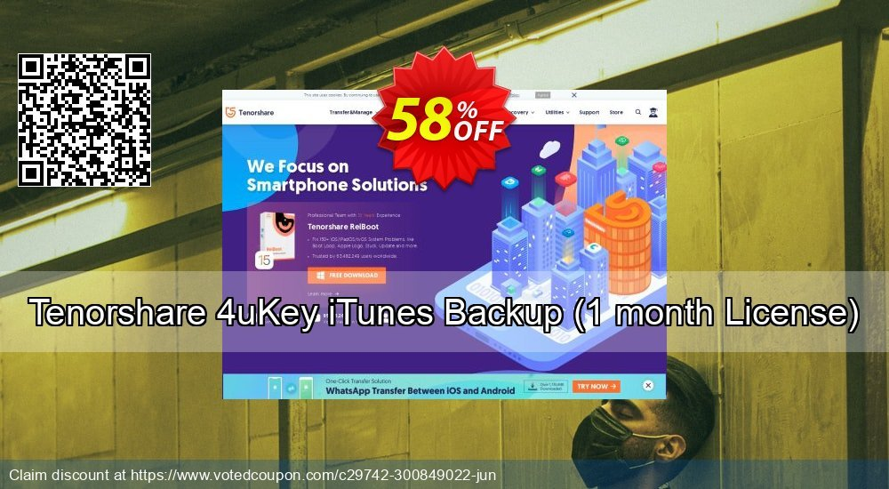 Get 58% OFF Tenorshare 4uKey iTunes Backup, 1 month License Coupon