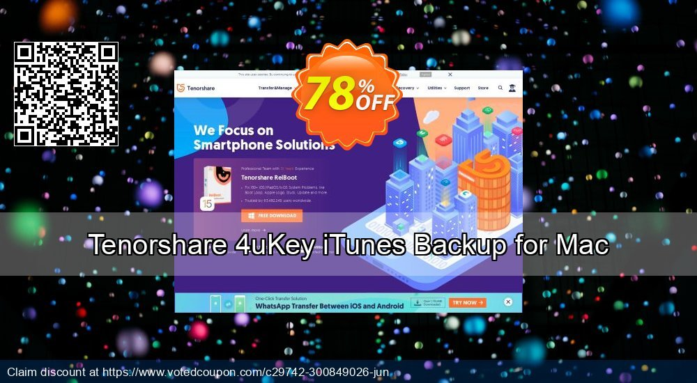 Get 78% OFF Tenorshare 4uKey iTunes Backup for Mac Coupon