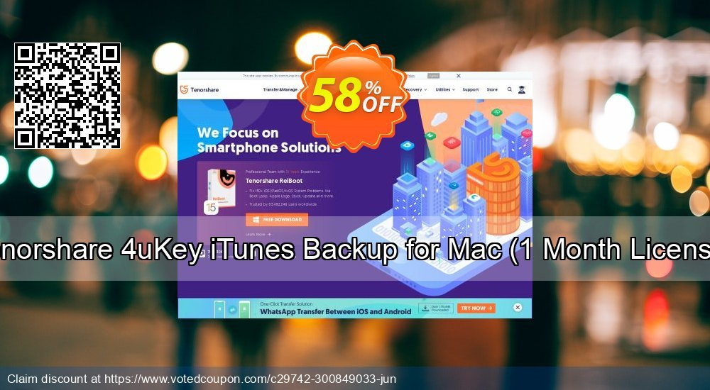 Get 58% OFF Tenorshare 4uKey iTunes Backup for Mac, 1 Month License Coupon