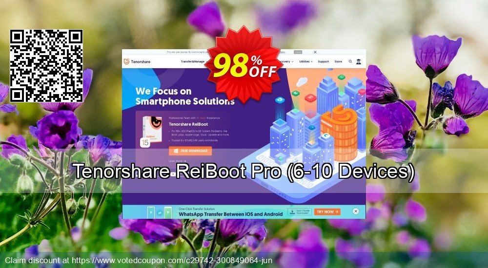 Get 98% OFF Tenorshare ReiBoot Pro, 6-10 Devices Coupon