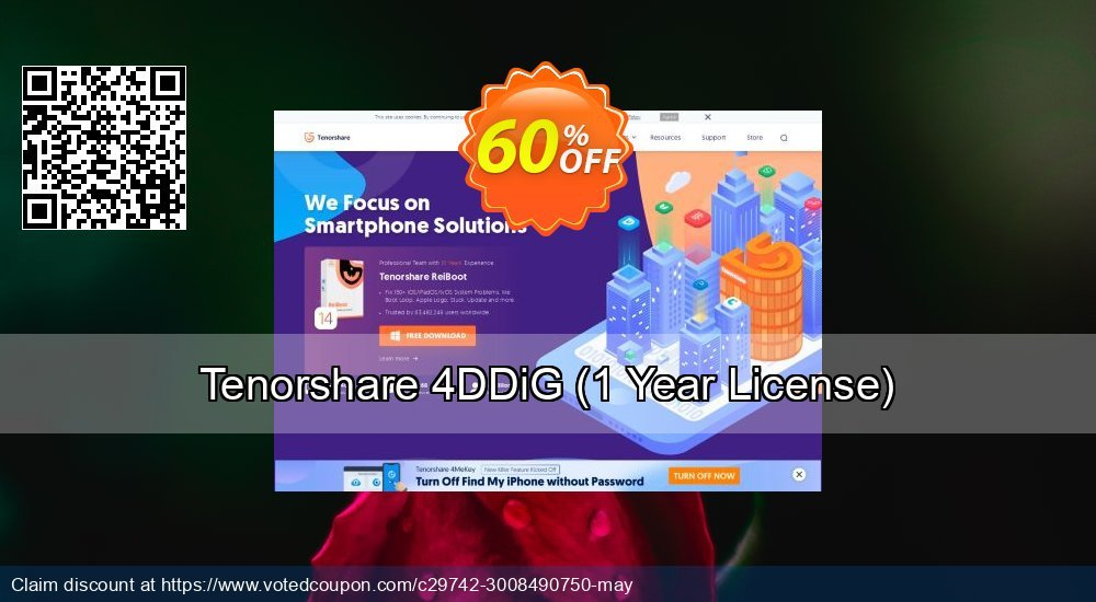 Get 60% OFF Tenorshare 4DDiG Windows Data Recovery, 1 Year License Coupon