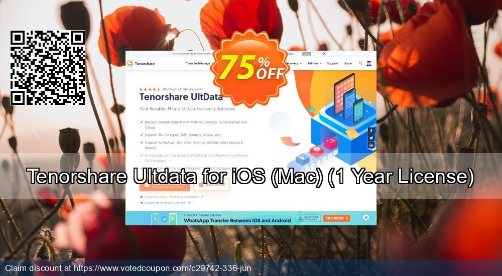 Get 30% OFF Tenorshare iOS Data Recovery for Mac - 1 year Coupon