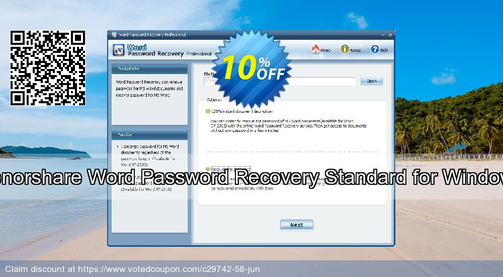 Get 10% OFF Tenorshare Word Password Recovery Standard for Windows Coupon