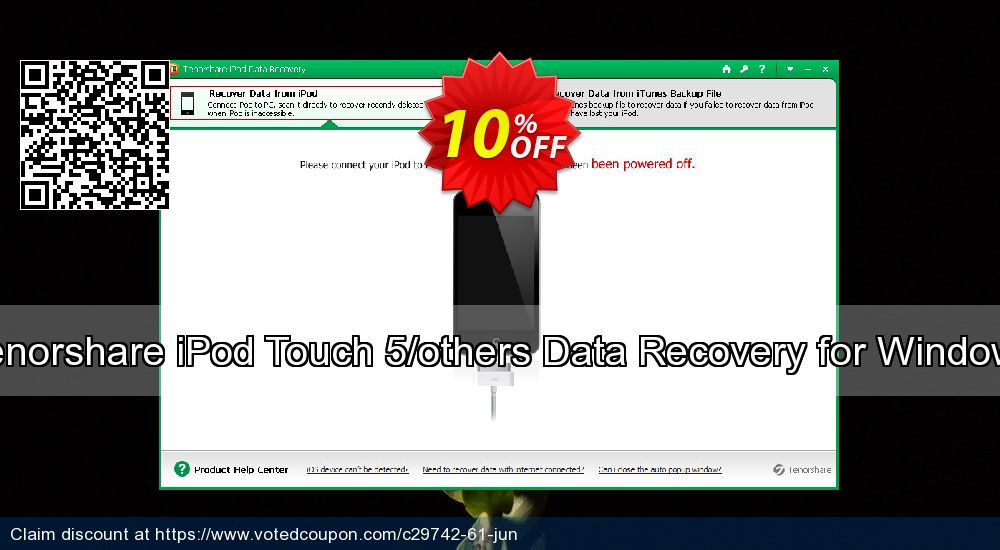 Get 10% OFF Tenorshare iPod Touch 5/others Data Recovery for Windows offering sales