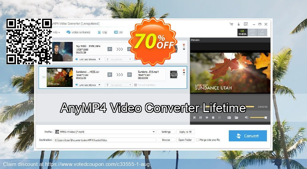 Get 40% OFF AnyMP4 Video Converter Lifetime promotions