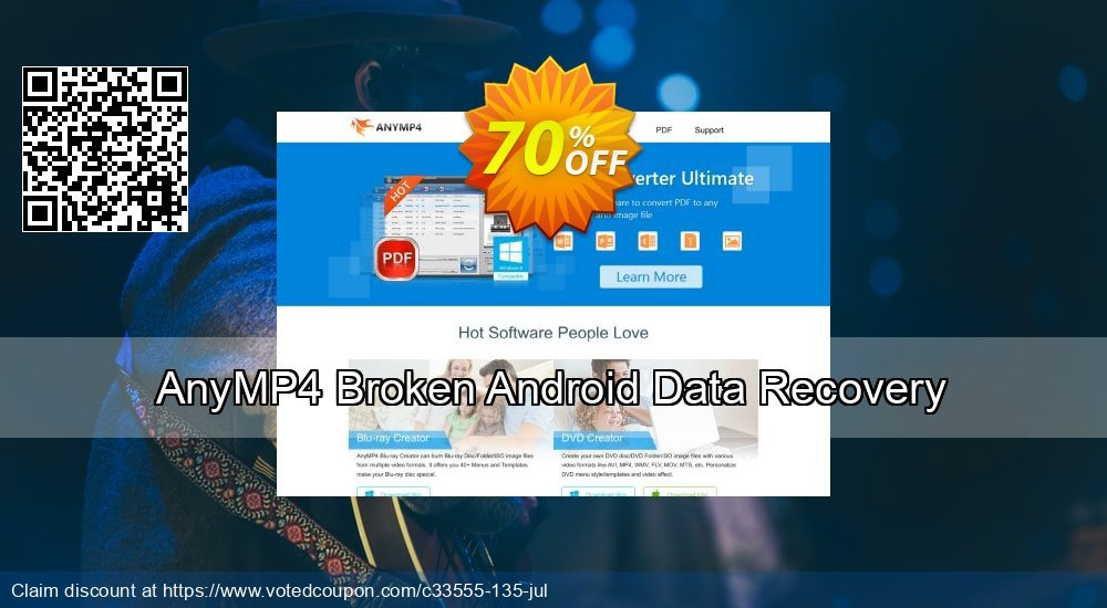 Get 41% OFF AnyMP4 Broken Android Data Recovery Coupon
