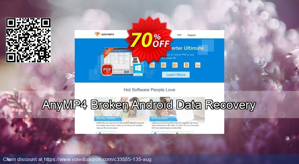 Get 40% OFF AnyMP4 Broken Android Data Recovery Coupon