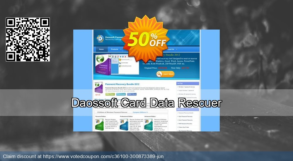 Get 33% OFF Daossoft Card Data Rescuer Coupon