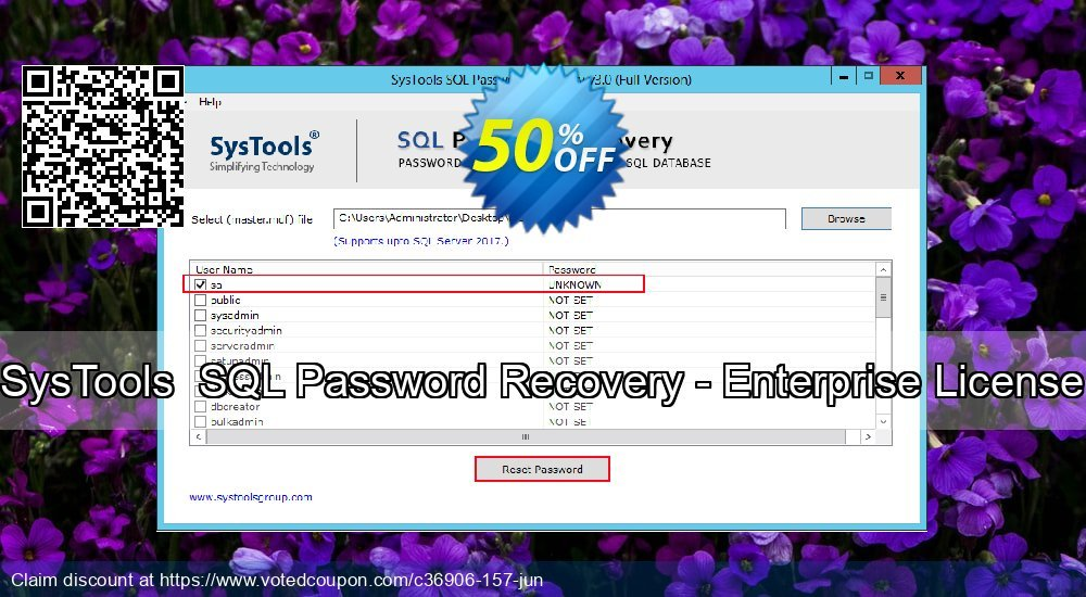 Get 20% OFF SysTools SQL Password Recovery - Enterprise License Coupon