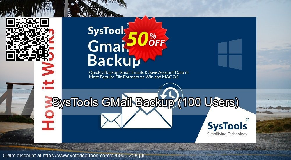 Get 15% OFF GMail Backup - 51 to 100 Users License offering sales