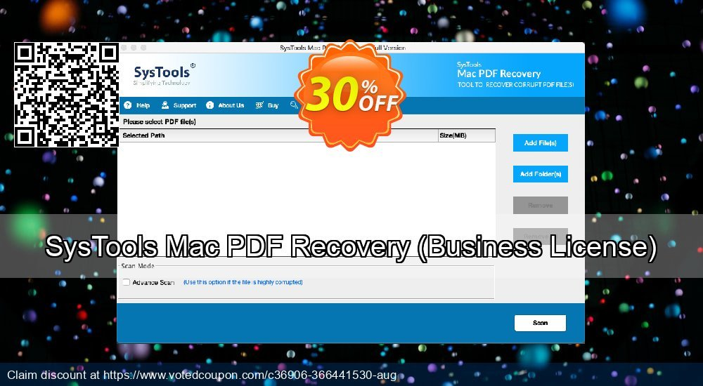 Get 30% OFF SysTools Mac PDF Recovery, Business License Coupon