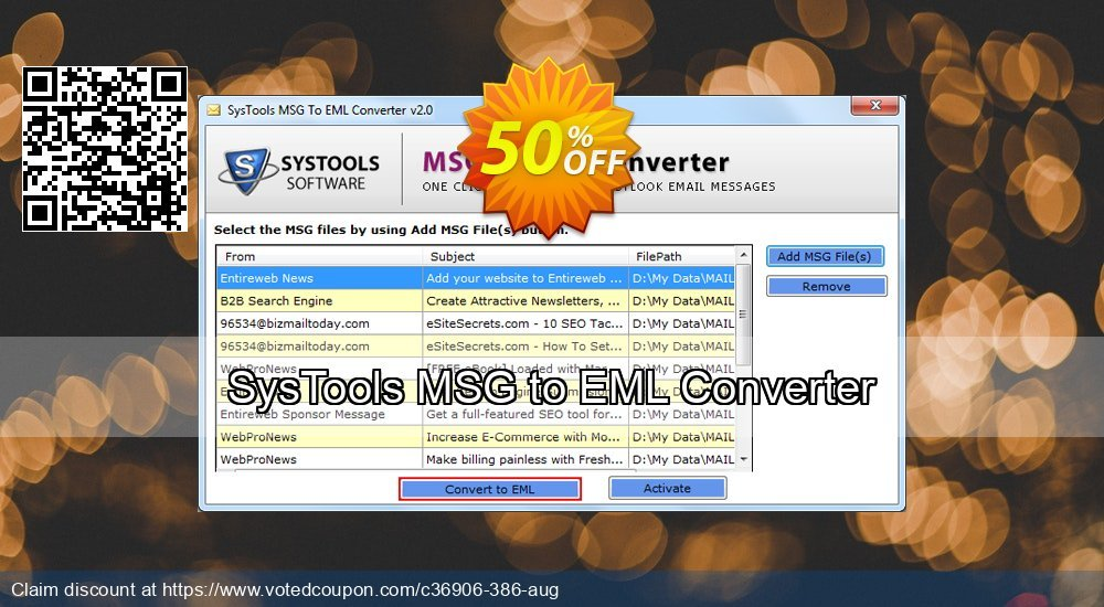 Get 31% OFF SysTools MSG to EML Converter Coupon