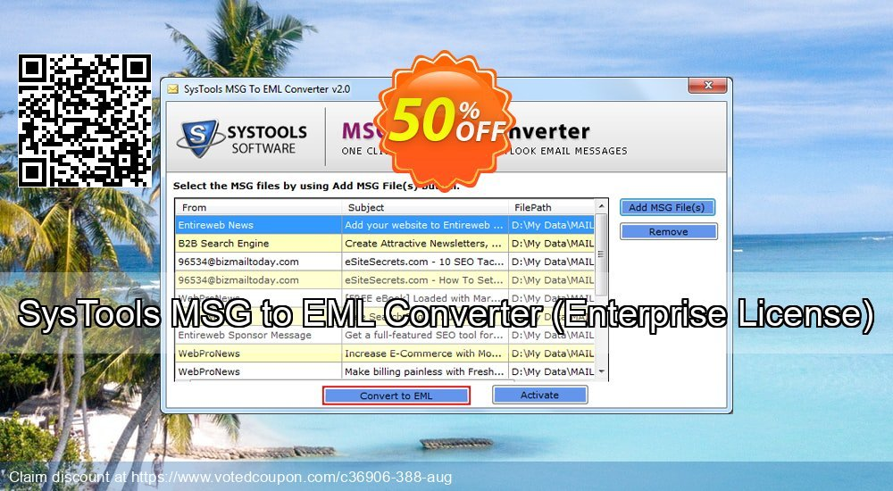 Get 30% OFF SysTools MSG to EML Converter, Enterprise License Coupon