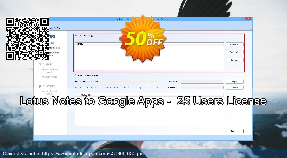 Get 50% OFF Lotus Notes to Google Apps - 25 Users License Coupon