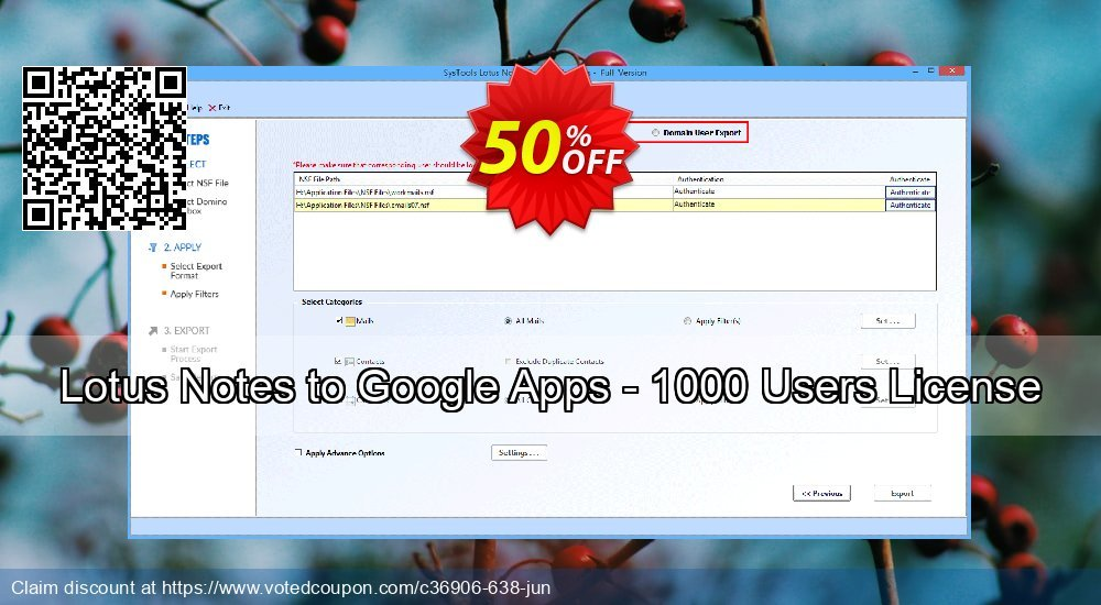 Get 98% OFF Lotus Notes to Google Apps - 1000 Users License deals