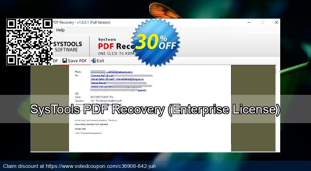 Get 30% OFF SysTools PDF Recovery, Enterprise License Coupon