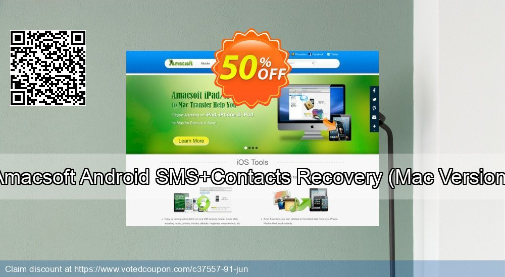 Get 51% OFF Amacsoft Android SMS+Contacts Recovery, Mac Version Coupon