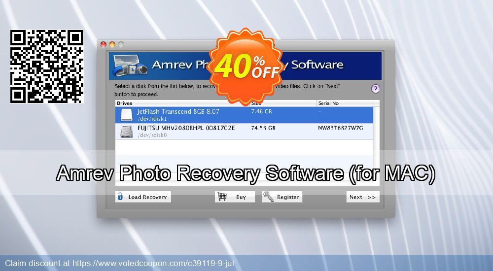 Get 41% OFF Amrev Photo Recovery Software, for MAC Coupon