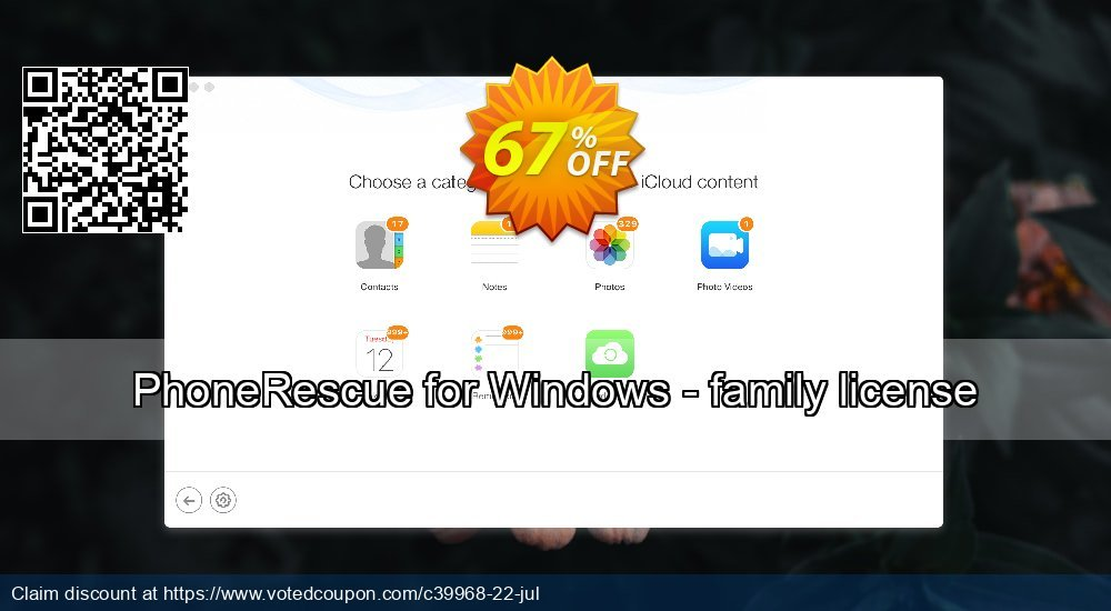 Get 67% OFF PhoneRescue for Windows - family license Coupon