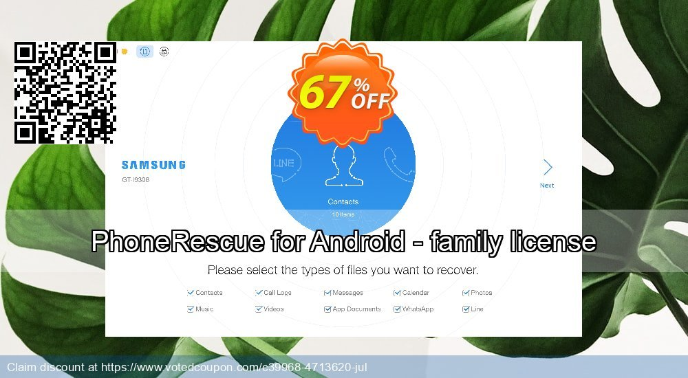 Get 67% OFF PhoneRescue for Android - family license Coupon
