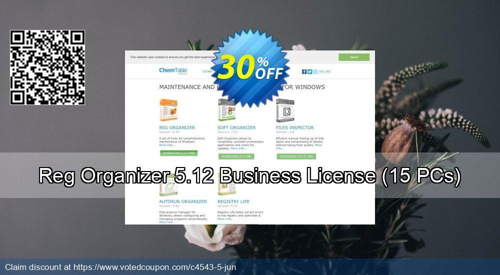 Get 30% OFF Reg Organizer 5.12 Business License (15 PCs) offering sales