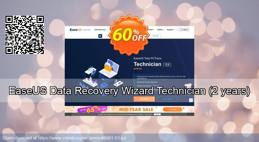 Get 50% OFF EaseUS Data Recovery Wizard Technician, 2 years Coupon