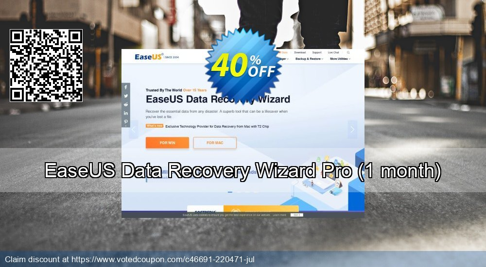 Get 50% OFF EaseUS Data Recovery Wizard Pro - 1 month Coupon