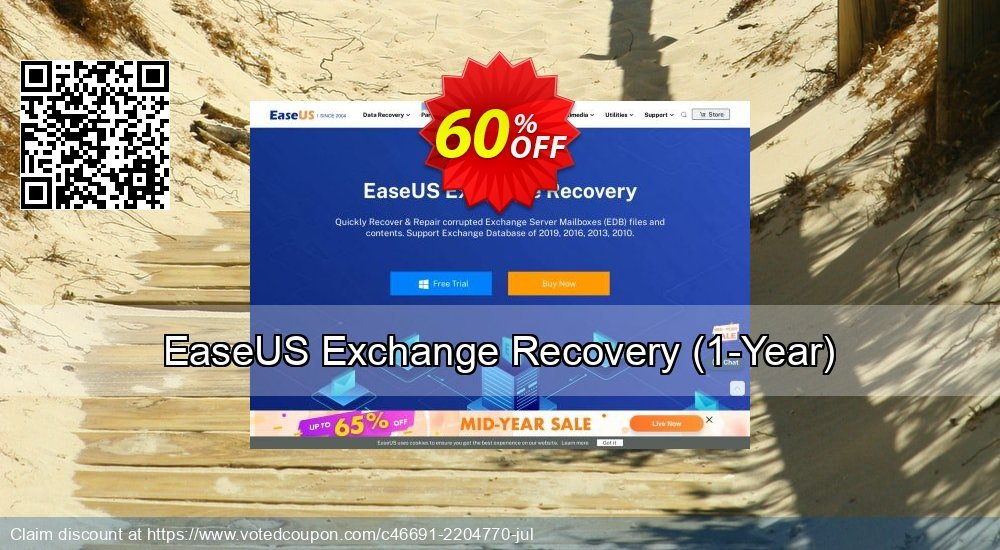 Get 40% OFF EaseUS Exchange Recovery, 1-Year Coupon