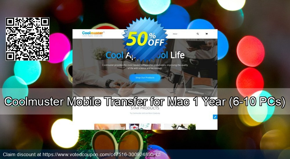 Get 50% OFF Coolmuster Mobile Transfer for Mac - 1 Year (6-10PCs) offering sales