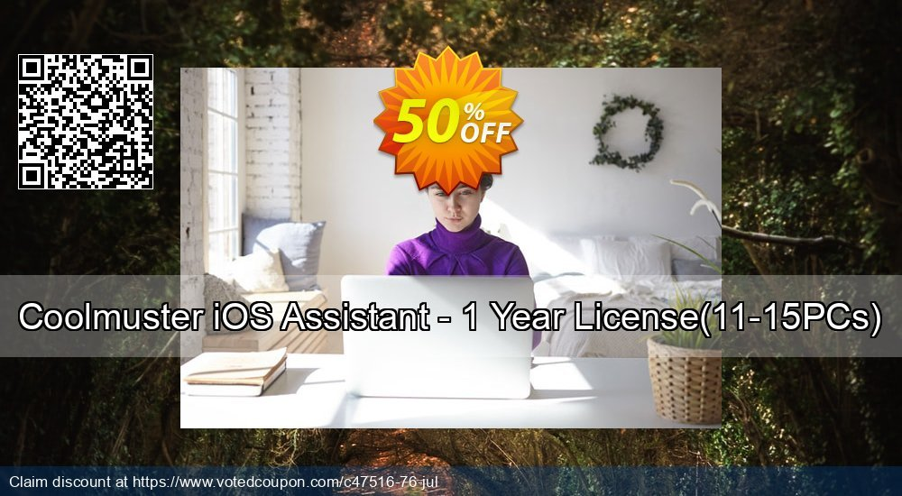 Get 50% OFF Coolmuster iOS Assistant - 1 Year License(11-15PCs) promo sales