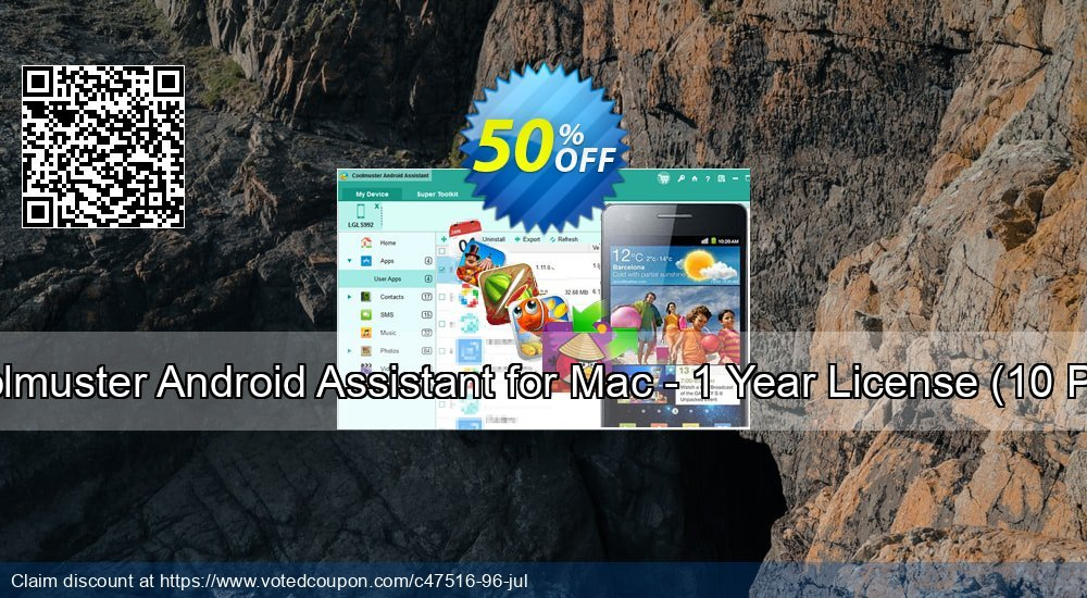 Get 50% OFF Coolmuster Android Assistant for Mac - 1 Year License(6-10PCs) offering sales