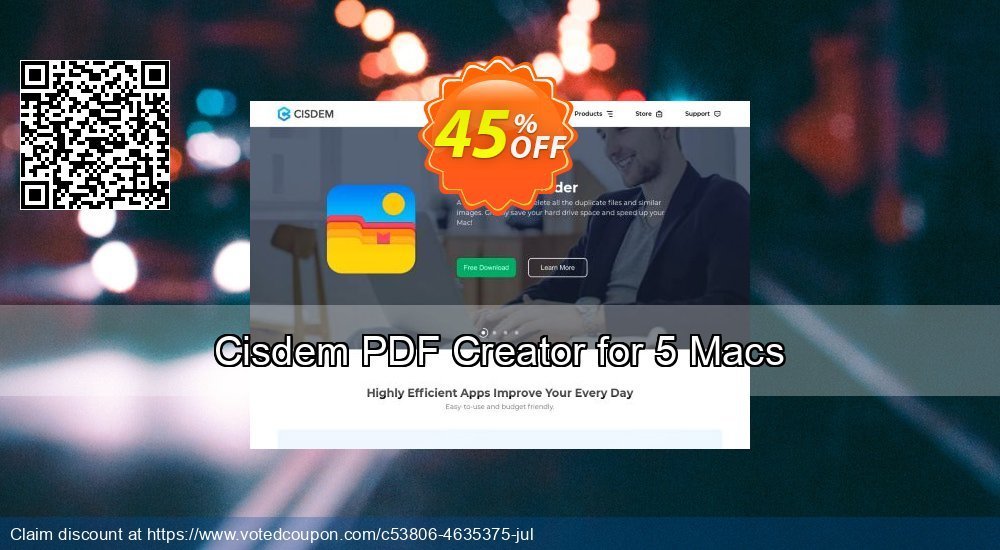 Get 30% OFF Cisdem PDF Creator for 5 Macs offering sales