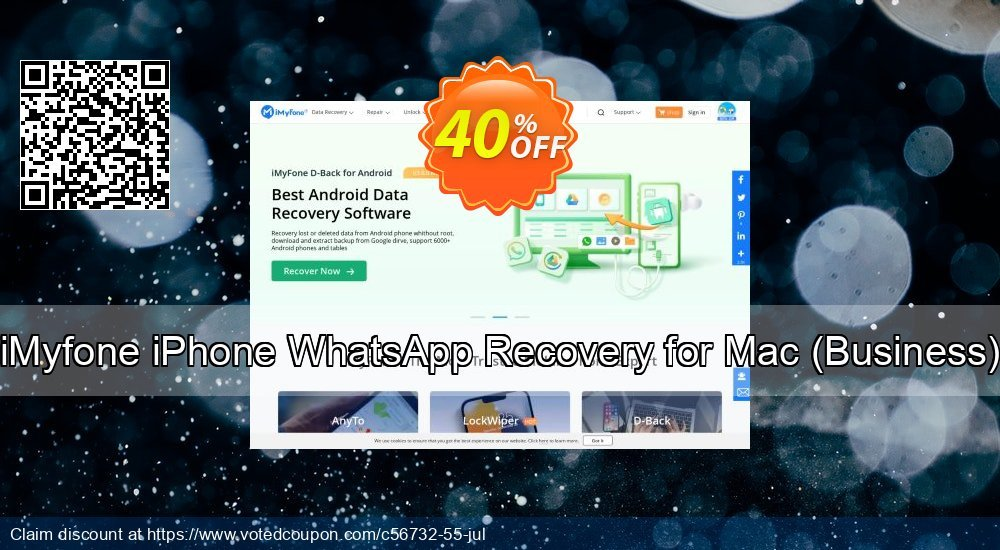 Get 40% OFF iMyfone iPhone WhatsApp Recovery for Mac - Business License Coupon