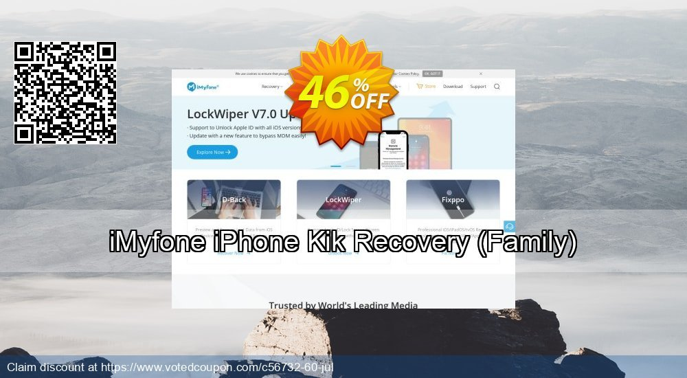 Get 46% OFF iMyfone iPhone Kik Recovery (Family) Coupon