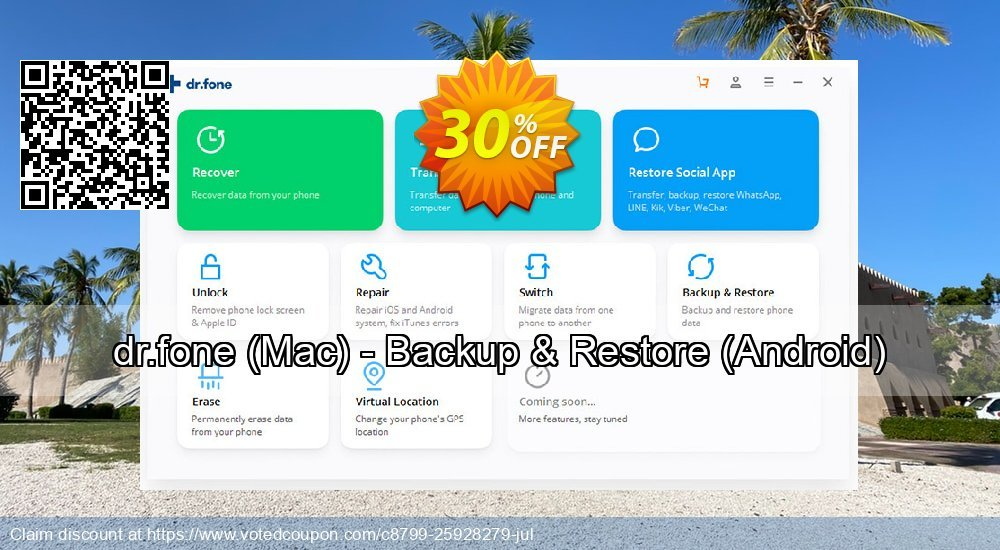 Get 33% OFF dr.fone, Mac - Backup & Restore, Android Coupon