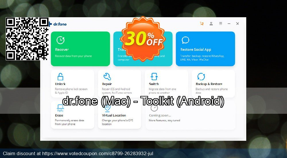 Get 31% OFF dr.fone, Mac - Toolkit, Android Coupon