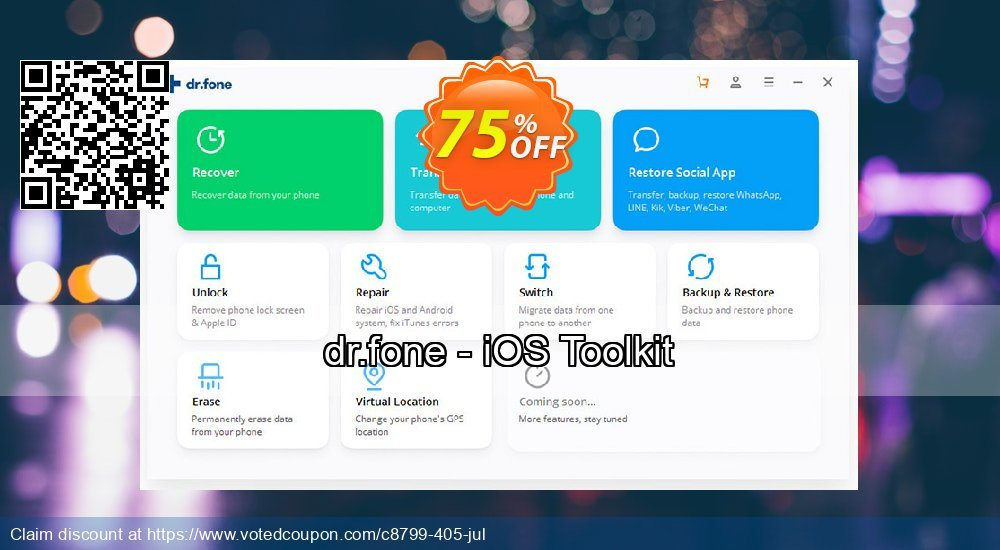 Get 75% OFF dr.fone - iOS Toolkit Coupon