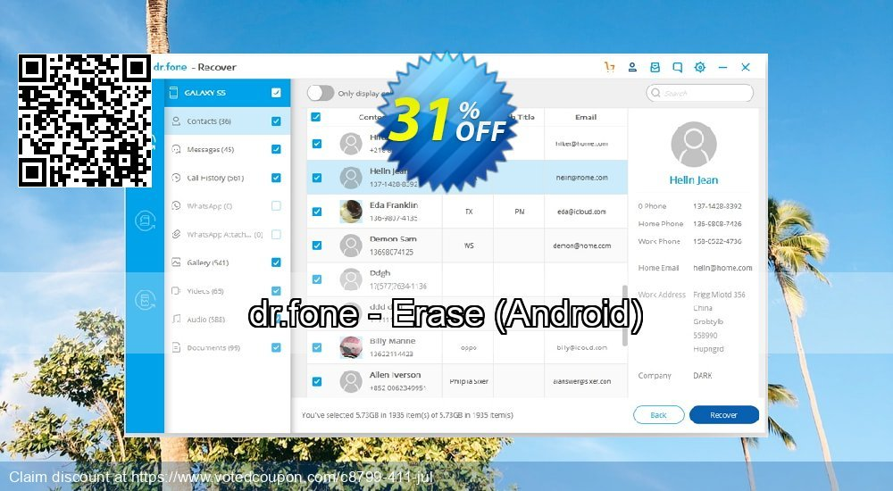 Get 34% OFF dr.fone - Erase, Android Coupon