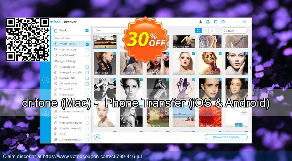 Get 20% OFF dr.fone, Mac - Phone Transfer, iOS & Android Coupon