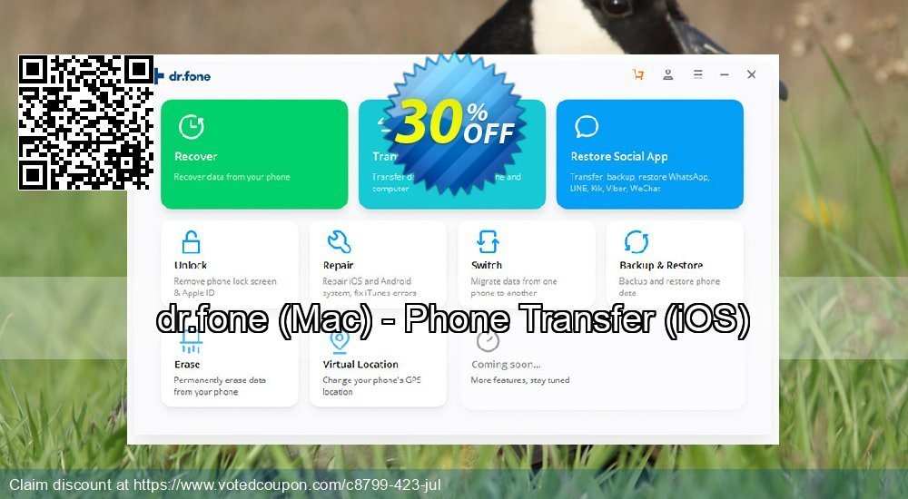 Get 20% OFF dr.fone, Mac - Phone Transfer, iOS Coupon