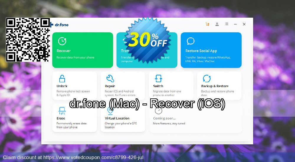 Get 31% OFF dr.fone, Mac - Recover, iOS Coupon