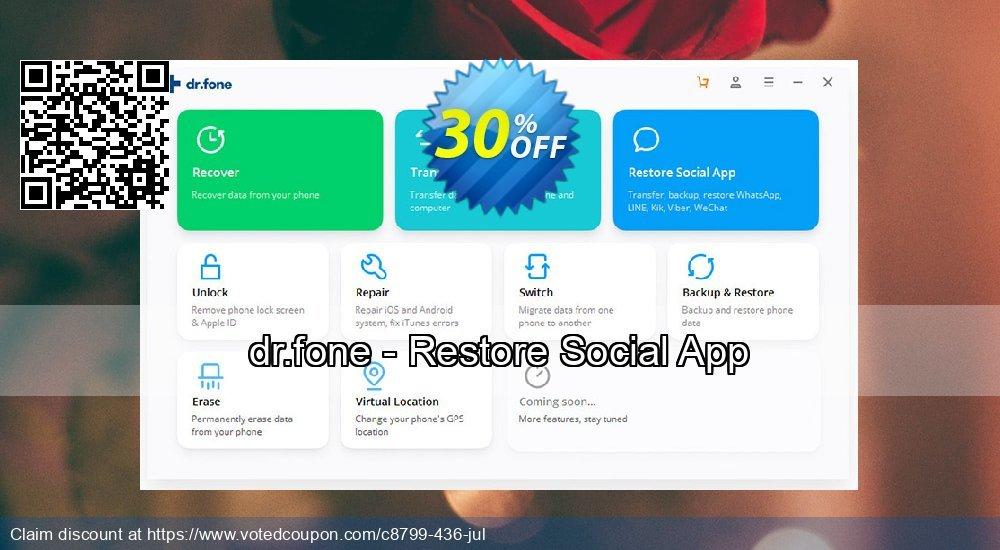 Get 30% OFF dr.fone - Restore Social App promo