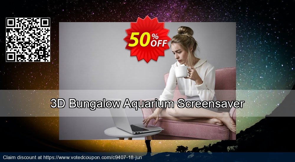 Get 50% OFF 3D Bungalow Aquarium Screensaver offering sales