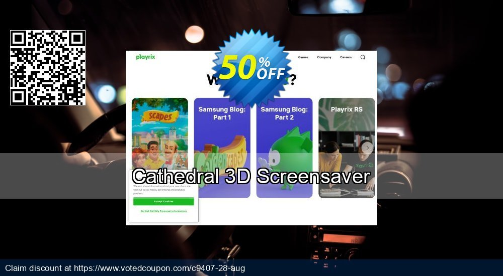 Get 50% OFF Cathedral 3D Screensaver offering discount