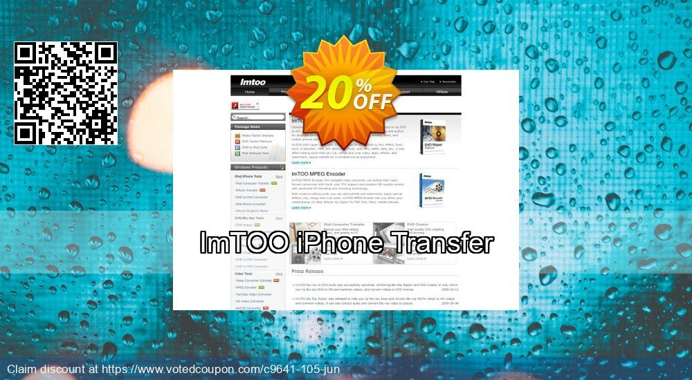 Get 20% OFF ImTOO iPhone Transfer offering sales