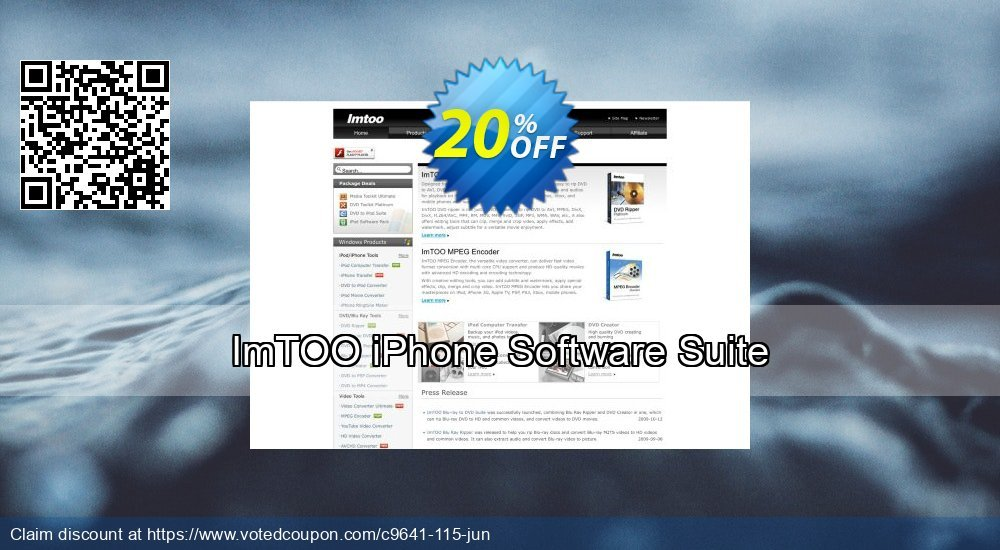 Get 20% OFF ImTOO iPhone Software Suite offering deals