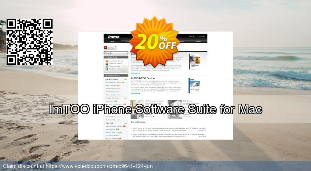 Get 20% OFF ImTOO iPhone Software Suite for Mac offering sales