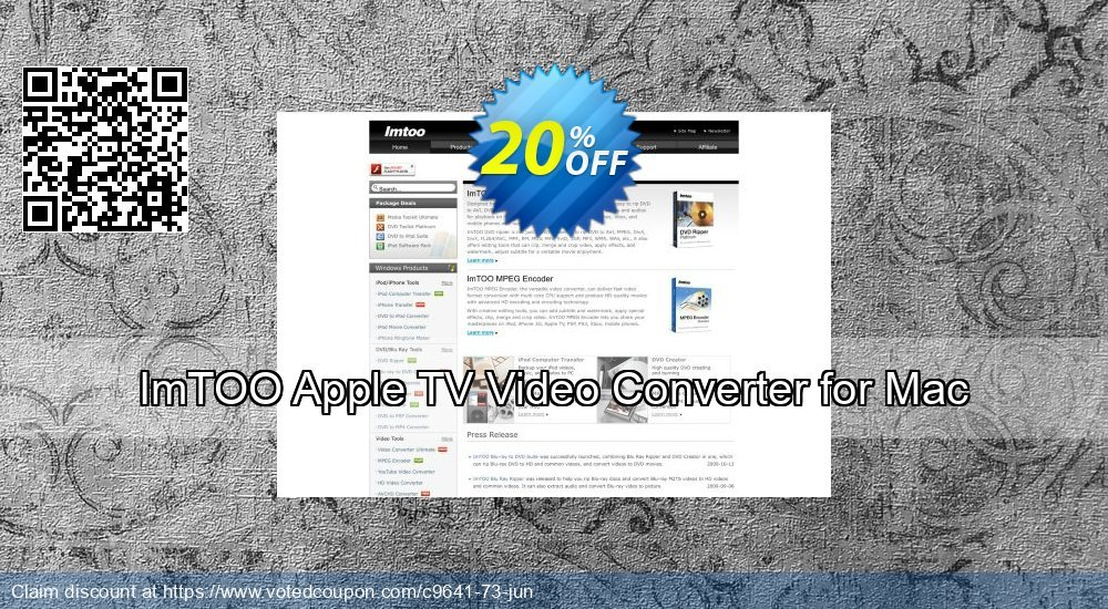 Get 20% OFF ImTOO Apple TV Video Converter for Mac offering discount
